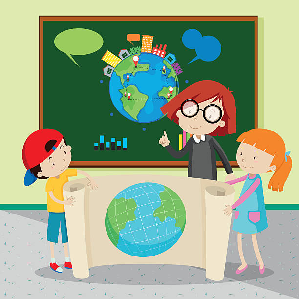 ilustrações de stock, clip art, desenhos animados e ícones de students holding large world map - teacher school solo