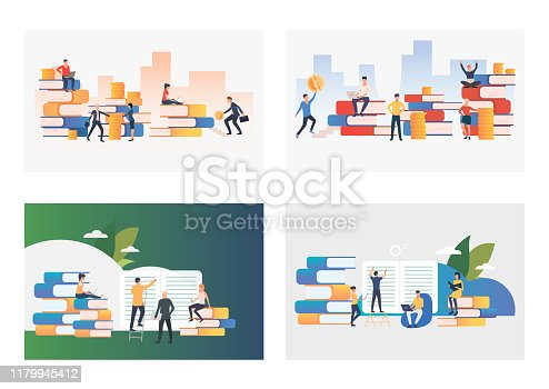 Students illustration set. People reading books, holding money, using computer, sitting on stack of books. Education concept. Vector illustration for posters, presentations, landing pages