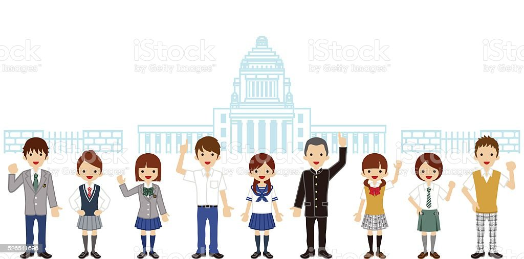 Students in front of Japanese National Diet Building vector art illustration