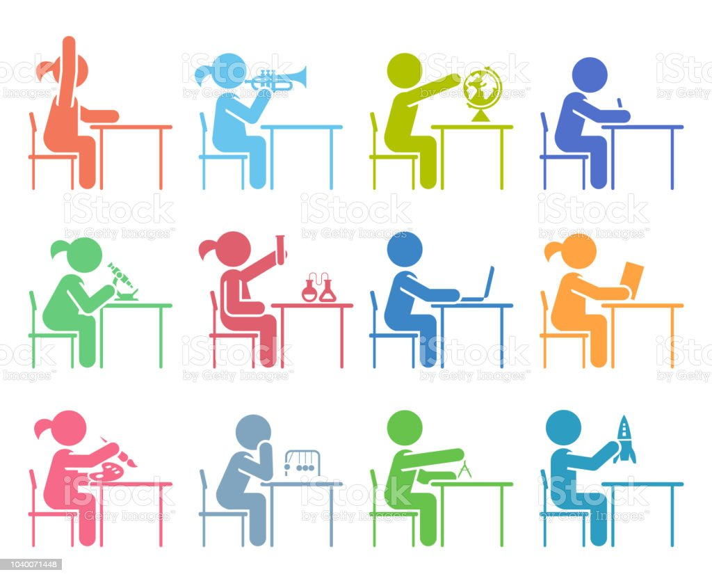 Students In School Attending Classes Pictogram Icon Set