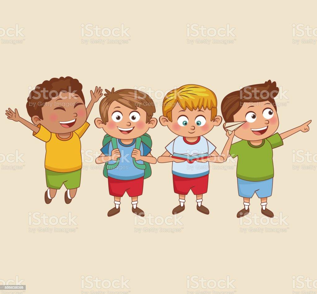 Ilustración De Dibujos Animados De Niños Estudiantes Y Más Vectores