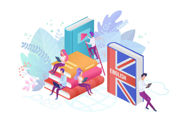 students learning english isometric vector illustration. pupils reading books 3d cartoon characters. using hi-tech gadgets for teaching foreign languages. distance education, online learning concept - language class stock illustrations