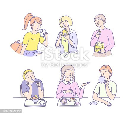 istock Students lunch time. Group of young people eating fast food, ice cream, sweet, chips, hamburger, drink coffee. Friends people sitting together chatting communicate together and having lunch flat 1307865222