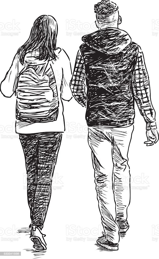 students on a walk vector art illustration