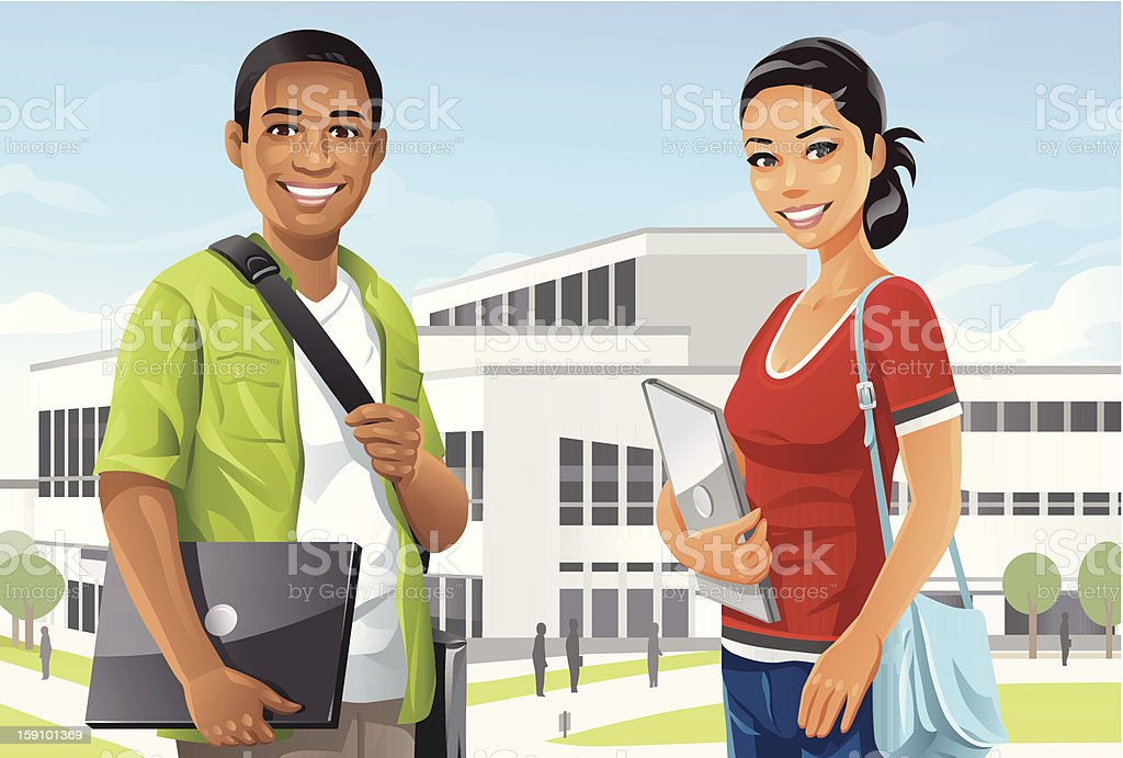 Students on Campus vector art illustration
