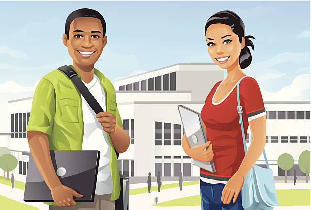 Students on Campus Illustration of a male and a female college student on campus. EPS8, fully editable and all labeled in layers. looking at camera stock illustrations