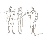 Students - one line design style illustration isolated on white background. Composition with three friends, boys and girls standing, holding smartphones, tablets. Perfect for presentations