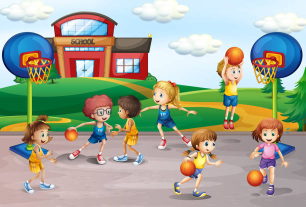 students playing basketball in physical education - recess stock illustrations, clip art, cartoons, & icons