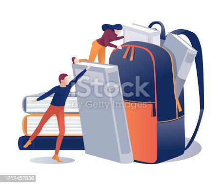 Students Put Books in Backpack Educational Cartoon