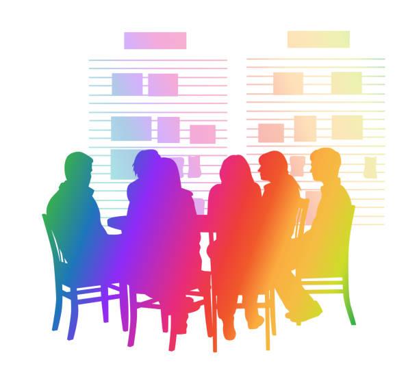 Schüler Round Table Regenbogen – Vektorgrafik