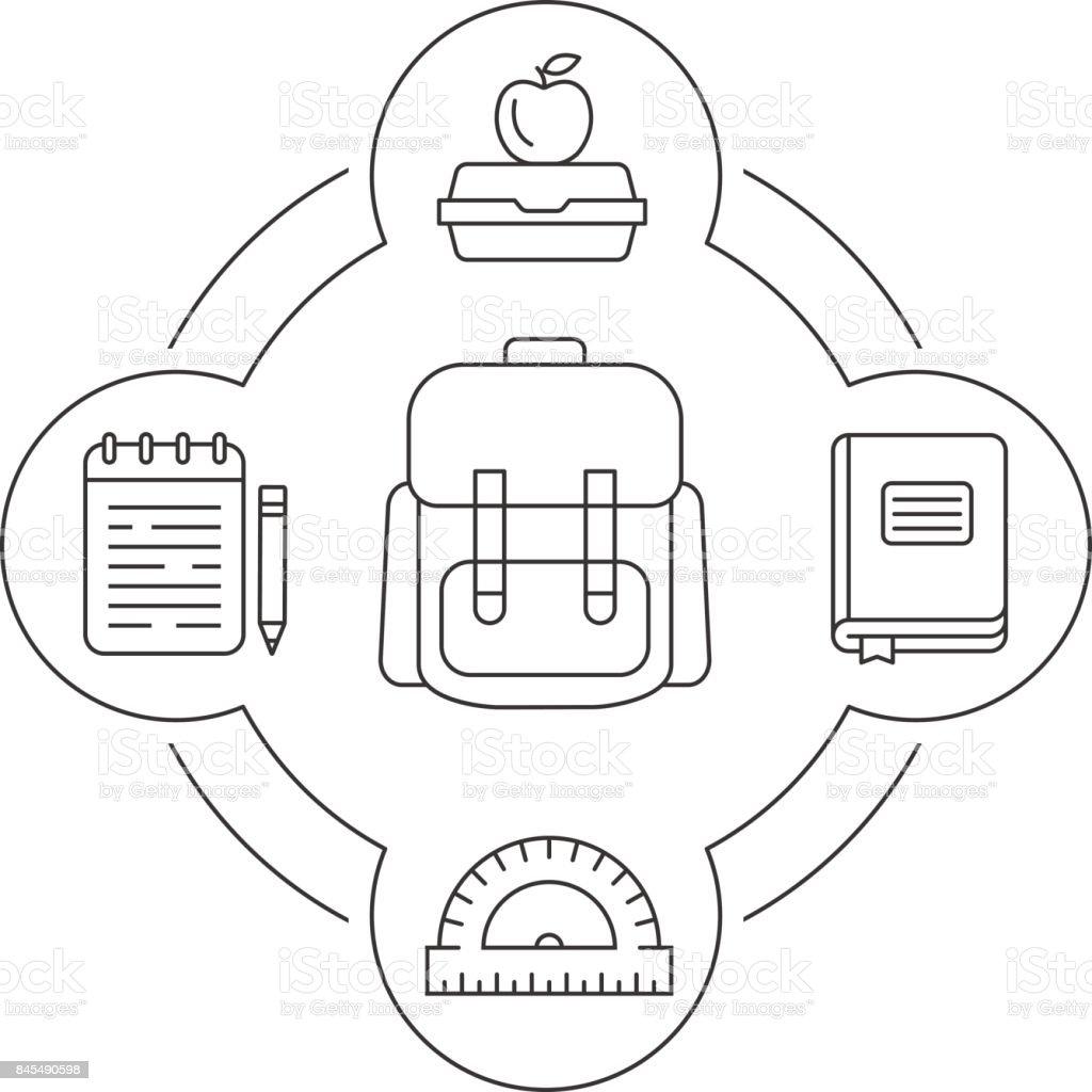 Conjunto escuela mochila contenido lineal los iconos del estudiante - ilustración de arte vectorial