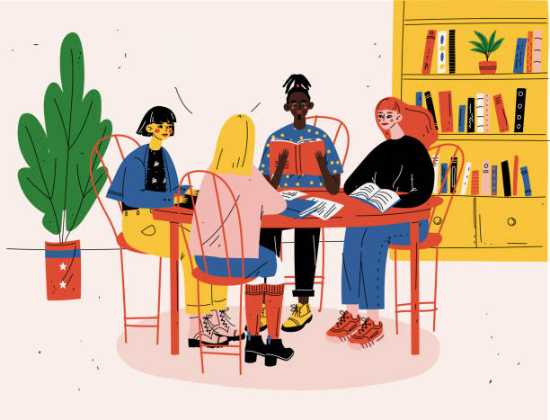 Studenten sitzen zusammen mit Büchern an einem Tisch und studieren – Vektorgrafik