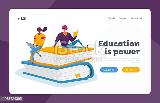 istock Students Spend Time in Library or Prepare for Grammar Test Examination Landing Page Template. Tiny Characters Reading 1263724095