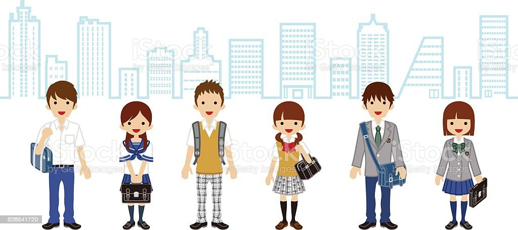Students Standing - city background vector art illustration
