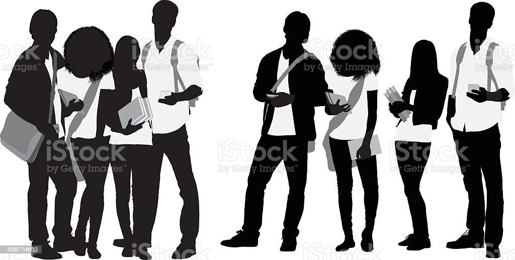 Students standing together vector art illustration