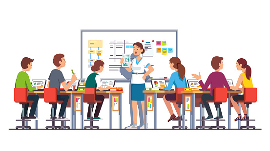 Students studying and working on laptops in modern technology classroom with desk and whiteboard & listen to smiling teacher woman giving task to them. Flat isolated vector