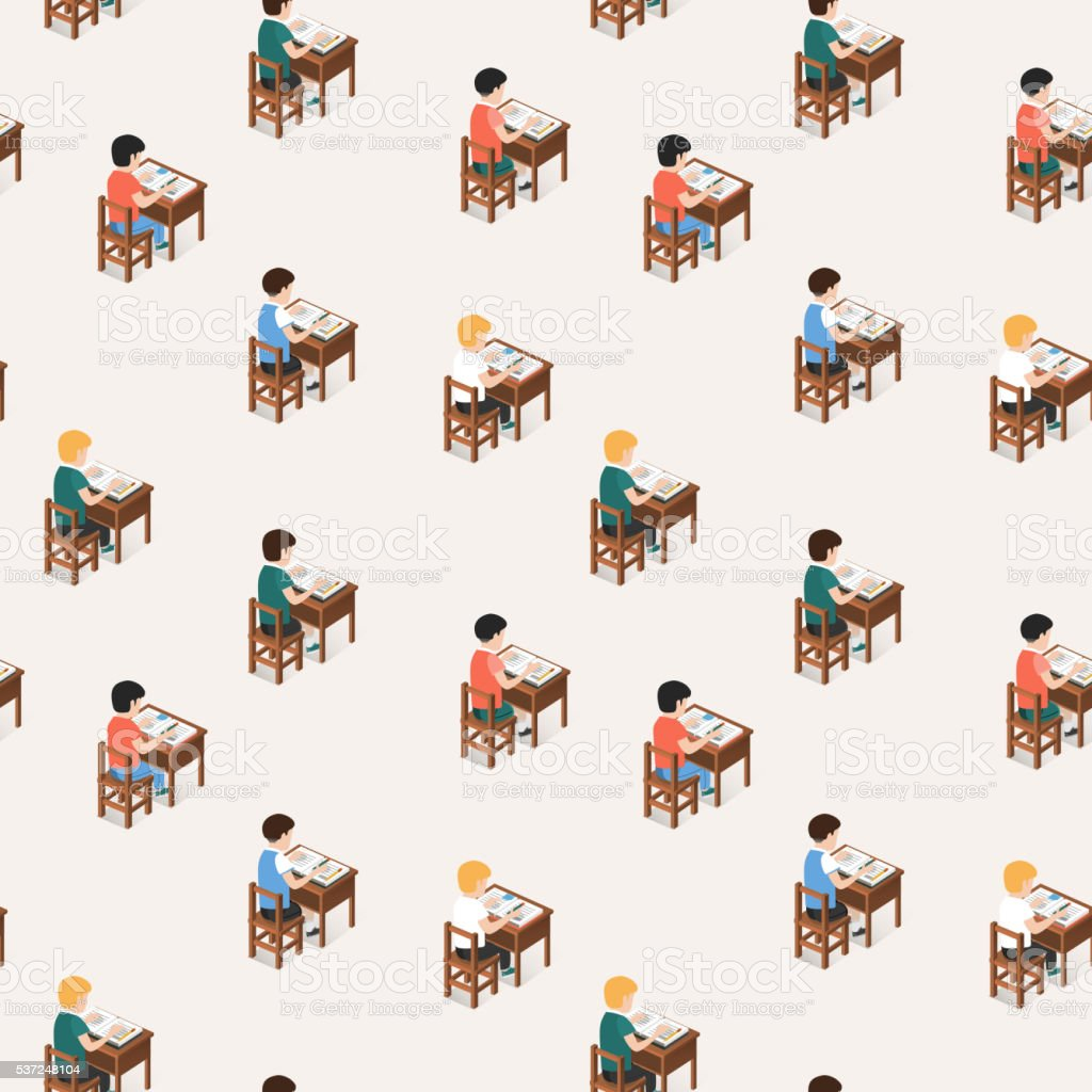 Students studying in classroom vector art illustration