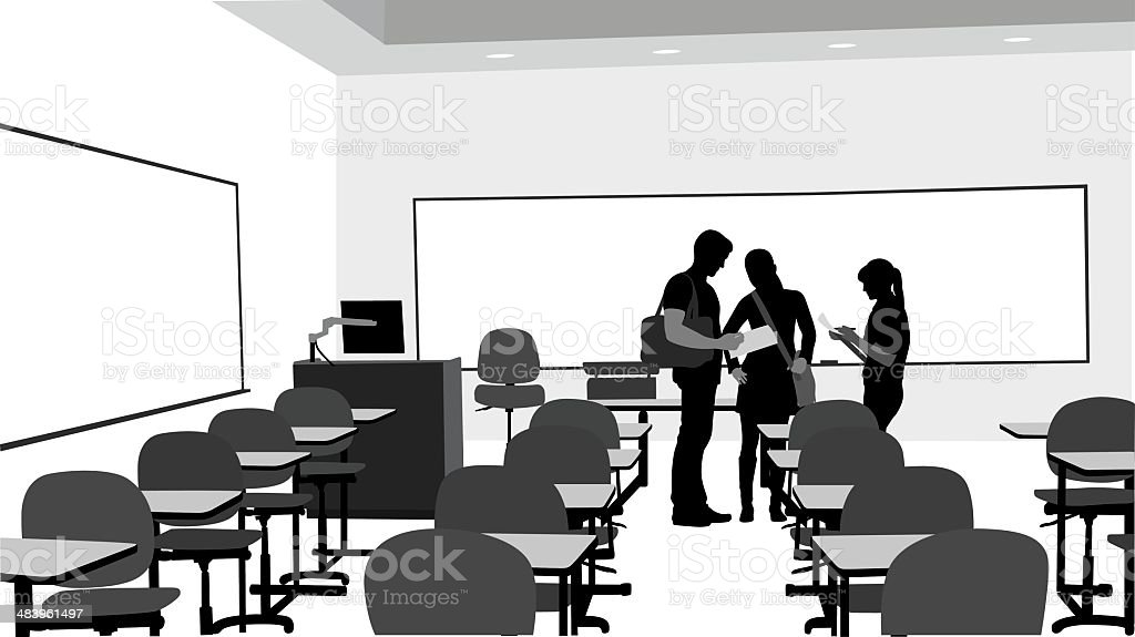 Students Talking Vector Silhouette royalty-free stock vector art