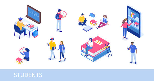 students Different college students studying. Can use for web banner, infographics, hero images. Flat isometric vector illustration isolated on white background. students stock illustrations