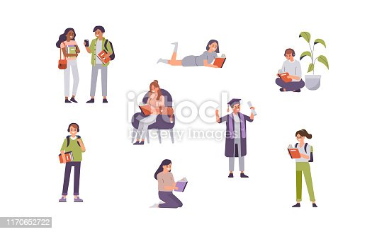 Students holding books and gadgets. Diverse people study. Education and knowledge concept with Characters. Flat cartoon vector illustration isolated.