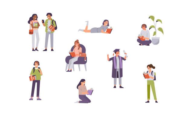 illustrazioni stock, clip art, cartoni animati e icone di tendenza di students - studenti