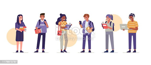 Students Group Holding Books and Gadgets. Diverse People Study Together. Girls and Boys in Modern Clothes. Education and Knowledge Concept with Characters. Flat Cartoon Vector Illustration isolated.