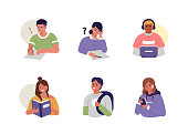 Young People Sitting at Table, Reading Books and Studying. Student Boys and Girls Using Gadgets and Chatting on Smartphone. Female and Male Characters collection. Flat Cartoon Vector Illustration.