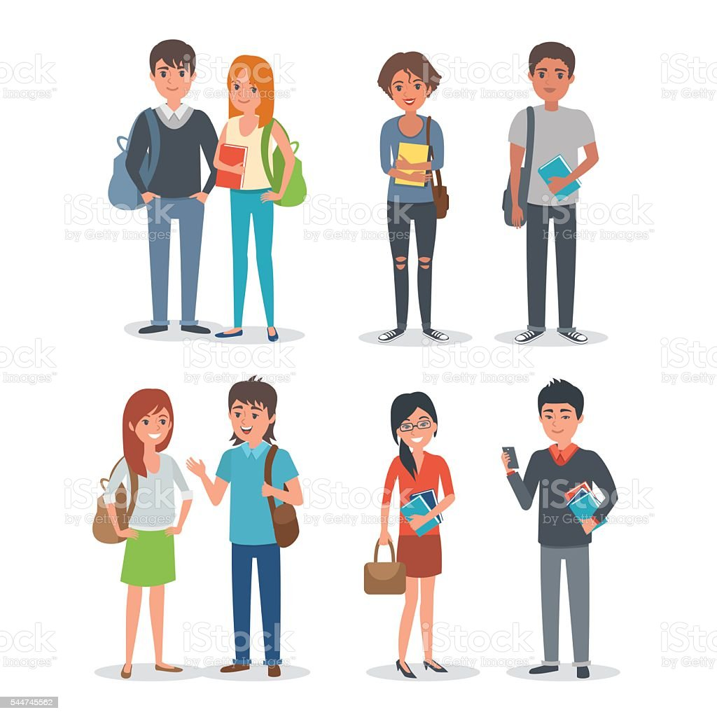 Students vector art illustration