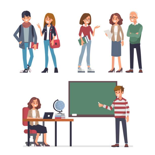 ilustrações, clipart, desenhos animados e ícones de os estudantes - professor