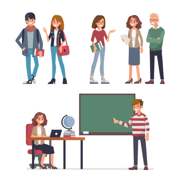 students Young students and teachers. Flat style vector illustration isolated on white background. students stock illustrations