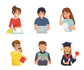 Different student characters. Flat style vector illustration isolated on white background.