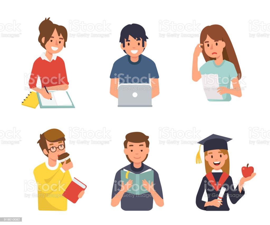 students vector art illustration