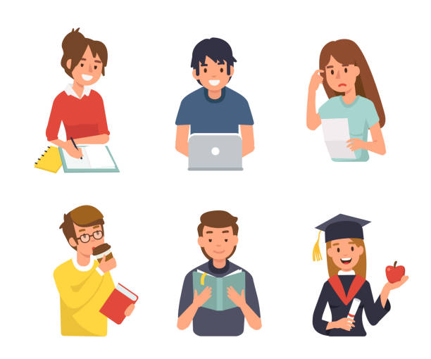 students Different student characters. Flat style vector illustration isolated on white background. writing activity stock illustrations
