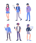 Set of young different students standing together. Flat style cartoon vector illustration isolated on white background.