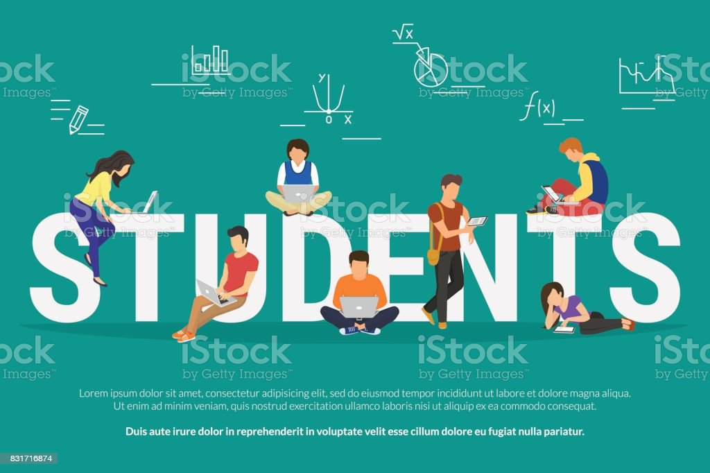 Students vector illustration of young people usinggadgets for e-learning, distance studying and online education vector art illustration