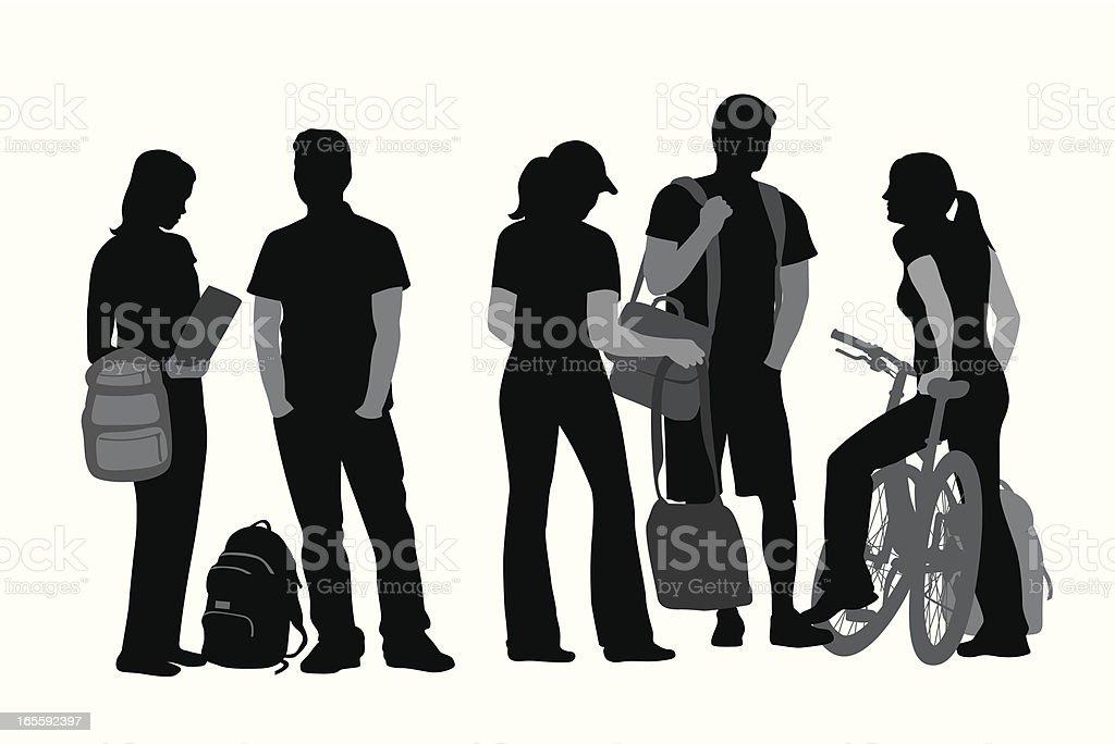 Students Vector Silhouette vector art illustration