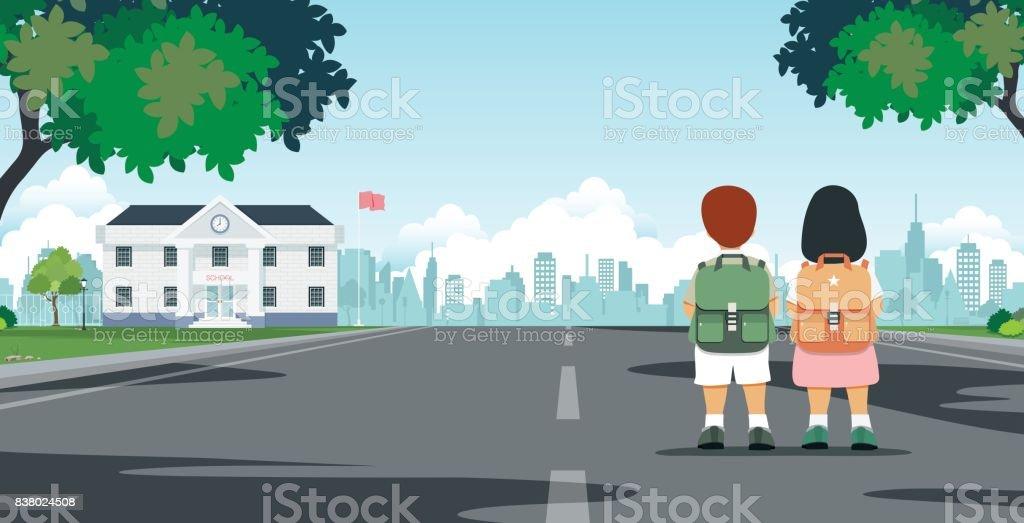 Students walk to school vector art illustration