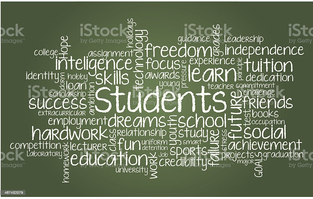 Students word cloud illustration vector art illustration