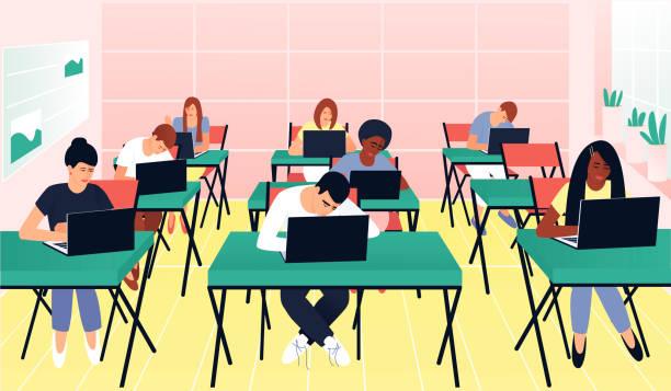 illustrazioni stock, clip art, cartoni animati e icone di tendenza di gli studenti lavorano sui computer in una bella classe - esame maturità