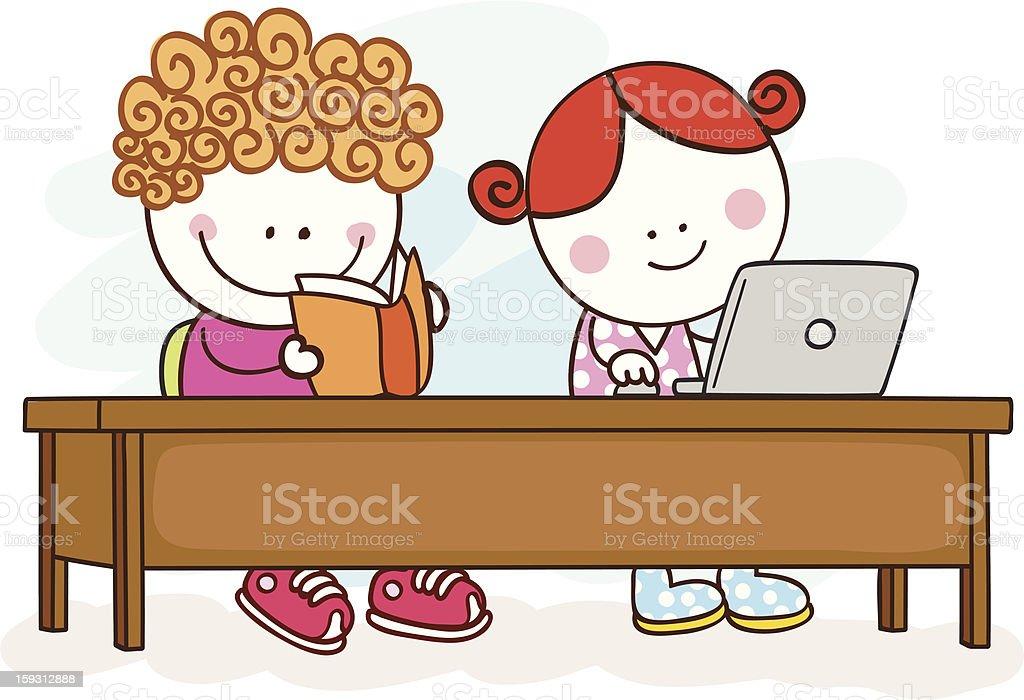 Ilustración De Estudiantes Trabajando Y Más Vectores Libres De