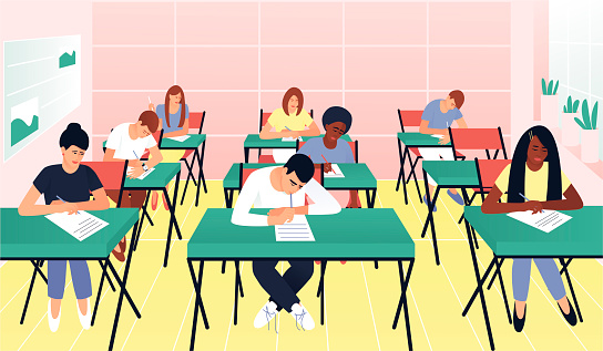 Students write a test exam in a beautiful classroom. Learning concept. Teenagers with different skin colors. Exam test. Test question. Flat vector cartoon illustration.