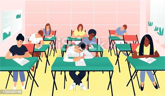 istock Students write a test exam in a beautiful classroom 1253460188