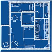 Apartment plan. Technical sketch on a blue background.