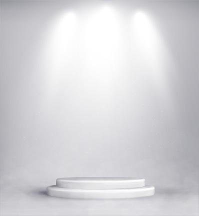Studio background with realistic podium spotlight