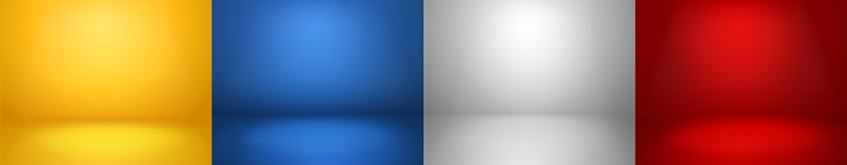 Studio backgrounds. Red, blue, yellow and blue walls for photography space vector simple set