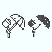 Studio illumination line and solid icon. Studio lights vector illustration isolated on white. Spotlight umbrella outline style design, designed for web and app. Eps 10