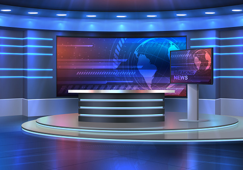 Studio interior for news broadcasting, vector empty placement with anchorman table on pedestal, digital screens for video presentation and neon glowing illumination. Realistic 3d breaking news studio