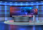 istock Studio interior for news broadcasting, empty room 1269408174