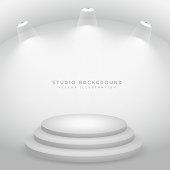 studio lights on stage podium