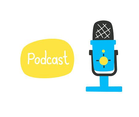 Studio microphone for recording audio with caption, podcast concept, sound recording, online radio.